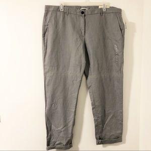 Gap Broken In Straight Linen Blend Crop Pants